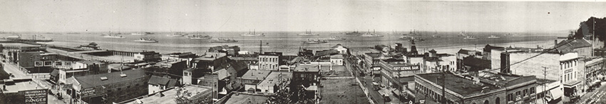 1921 photo of the Pacific Fleet in Port Angeles